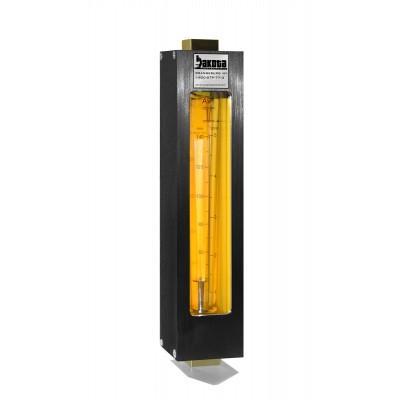 "Encased Glass Tube In-Line Flow Meter, Brass 3/8"" FNPT Adapter, No Valve"