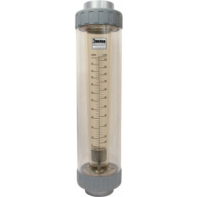 "Polysulfone High Volume In-Line Flow Meter with 1 1/2"" PVC Connections - Water (GPM/LPM), Polycarbonate Shield"