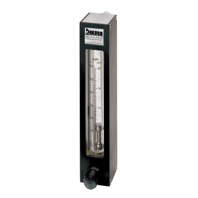 "Encased Glass Tube Panel Mount Flow Meter with Valve, 316 Stainless Steel 3/8"" FNPT Adapter"