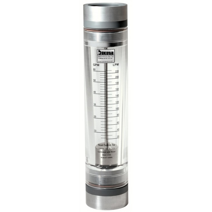 High Capacity Acrylic In Line Flow Meter With 316