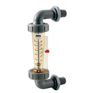 "Polysulfone Panel Mount Flow Meter with Polysulfone Connections - Water, 2"" GPM/LPM or GPH/LPH Scales, No Valve"